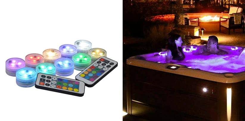 Idubai 10 Pack Small Submersible LED Lights with Remote