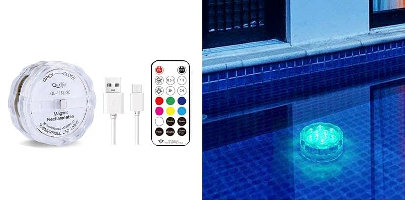 Qoolife Rechargeable Underwater Led Lights