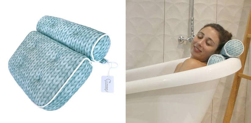 Luxurious Bath Pillow with Bolster Neck Rest for Pampering Support