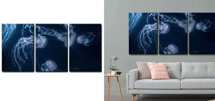 3 Piece Canvas Wall Art - Jellyfishes in Deep Ocean