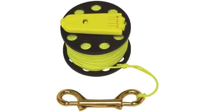 Innovative Scuba Concepts Finger Spool with Hand Winder and Brass Clip