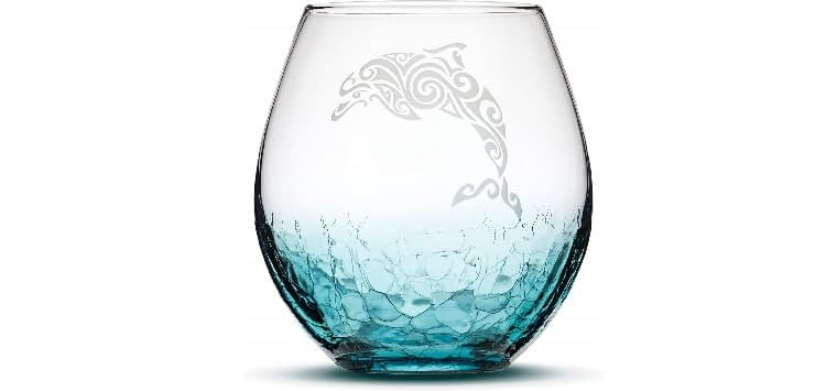 Integrity Bottles Dolphin Handblown, Sand-Carved Stemless Wine Glass, Crackle Teal