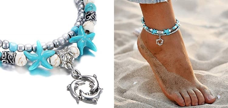 FINETOO Blue Dolphin, Shell and Starfish Beach Anklet 2