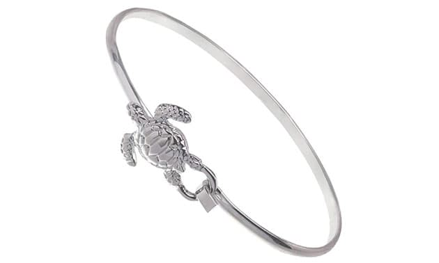 Cape Cod Jewelry-CCJ Sea Turtle Bracelet Latch Cuff SilverTone
