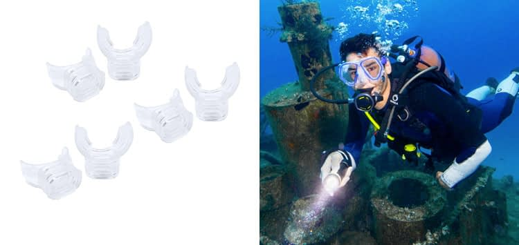 MALUAN 6 Pack Silicone Mouthpiece Diving Clear with Tie Strap Diving Equipment Breathing Tube Accessories
