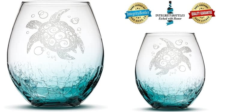Integrity Bottles Sandcarved Sea Turtle Stemless wine Glass