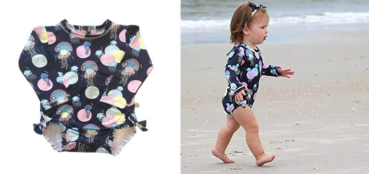 KRIO COLOR Jellyfish Sunsuit Baby Girl:Toddler Bathing Suit
