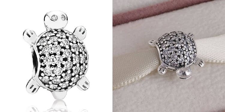 Pandora Cubic Zirconia Sea Turtle Charm in Sterling Silver