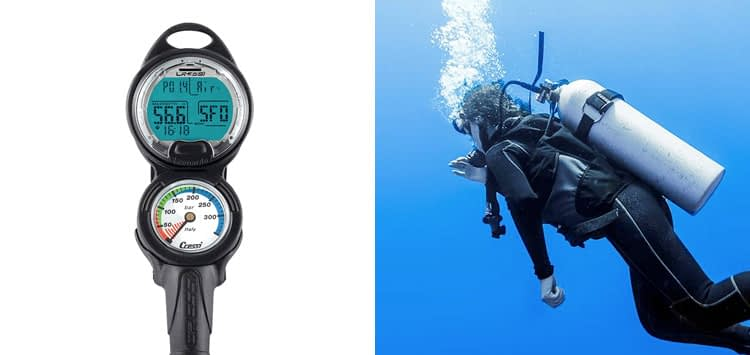 Cressi Scuba Diving Console with Computer, Pressure Gauge