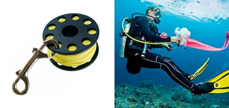 Trident Finger Reel with Brass Clip Wreck Scuba Diving Tech Spool