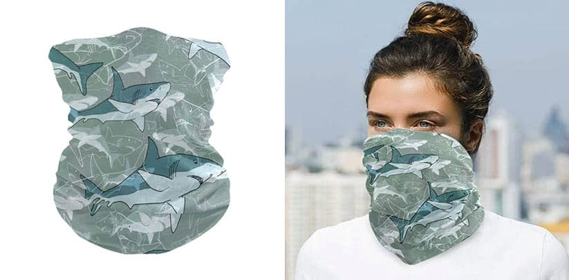 Face Shields for Men Women Abstract Sea Pattern With Sharks
