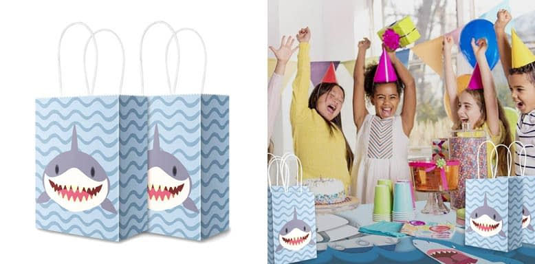 Sumapner Shark Kraft Paper Bags Candy Bags Party Favor Bags