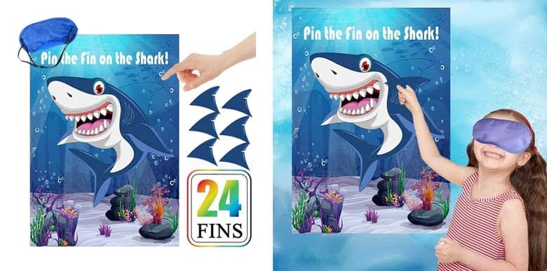 Pin The Fin On The Shark Games Kids Baby Shark Birthday Game