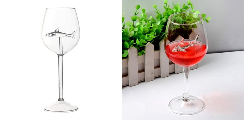 WENWING Creative Red Wine Glasses with Shark Inside