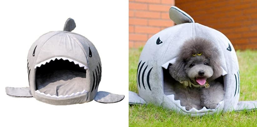 SPHTOEO Colorfulhouse Shark Round House Puppy Bed
