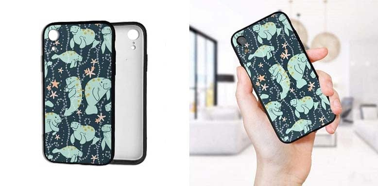 Manlee iPhone XR Case Manatee Pattern Silicone Gel Rubber Protective Case