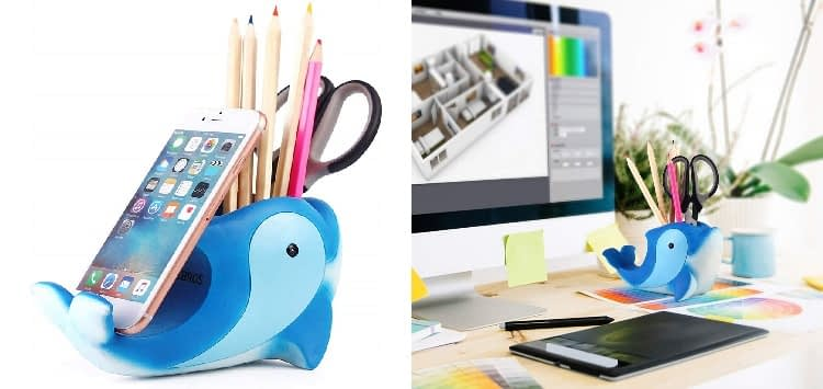 COOLBROS Resin Dolphin-Shaped Pen and Pencil Holder with Phone Stand