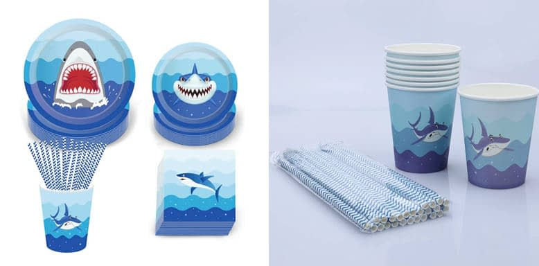 Pack Shark Party Supplies Disposable Tableware