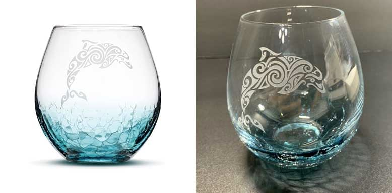 Sand Carved Stemless Wine Glass, Dolphin