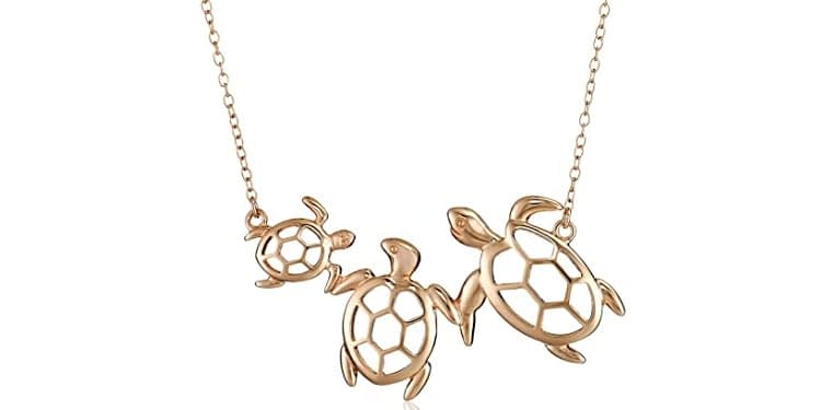 Amazon Collection Sterling Silver Turtle Family Necklace, 18-Inches