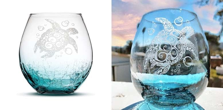 Sand Carved Stemless Wine Glass, Sea Turtle, Crackle Teal