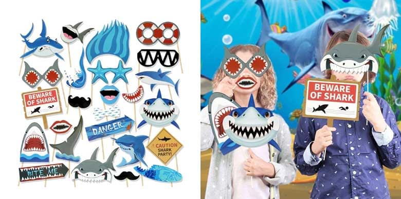 Konsait Shark Party Photo Booth Props
