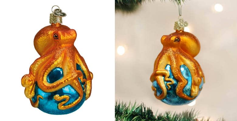 Old World Christmas Ornaments: Sea and Water Animals Glass Blown Ornaments for Christmas