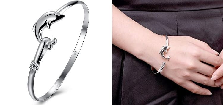 SOMUNS 925 Sterling Silver Dolphin Bangle Bracelet