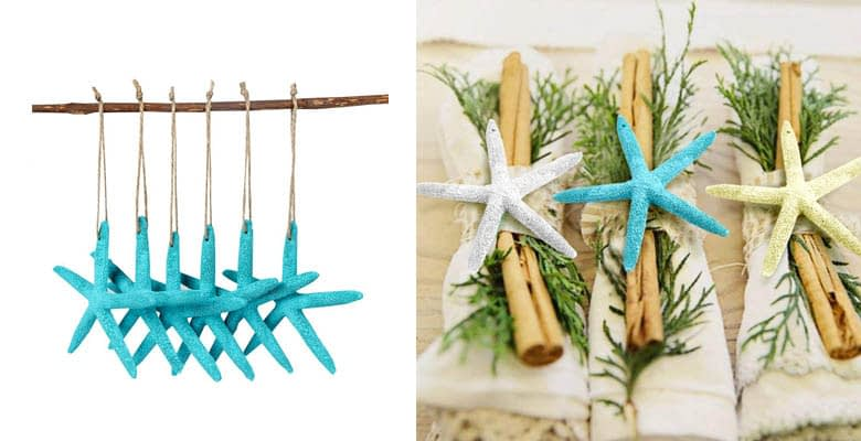 AerWo 20pcs Blue Artificial Resin Starfish with Rope