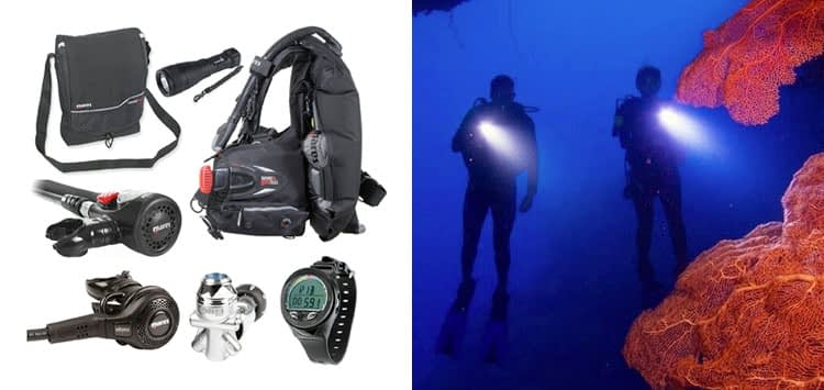 Mares Abyss 22 Navy Regulator Scuba Diving Package with air control and BC