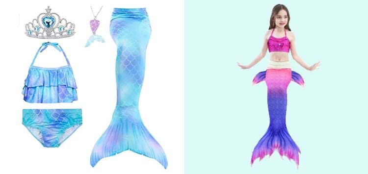 5Pcs Girls Swimsuit Mermaid Tails for Swimming Princess Bikini Bathing Suit Set Can Add Monofin