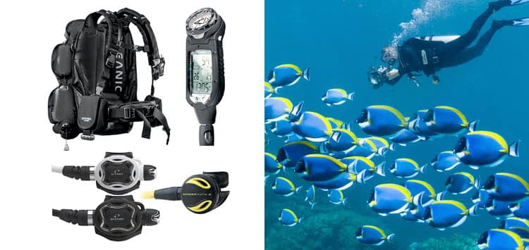 Oceanic Professional Scuba Diving Package JetPack Travel BCD ProPlus 3, Zeo Regulator, Alpha 8 Octo Black Zeo Regulator