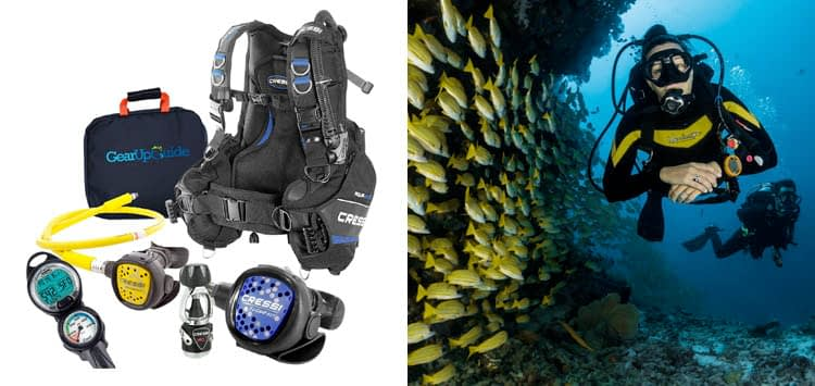Cressi Aquaride Blue Pro BCD Scuba Gear Package w/ MC9 Compact Regulator & Octo Leonardo C2 Dive Computer GupG Reg Bag