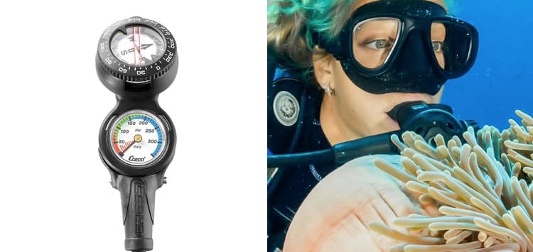 Cressi Console CP2 - Pressure Gauge and Compass for Scuba Diving