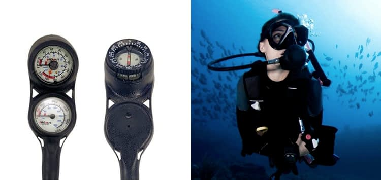 Promate Mini Scuba Diving Pressure and Depth Gauge with Compass Console