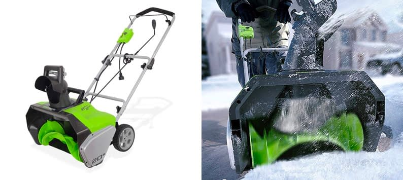 "7. Greenworks 20"" Snow Thrower Shovel"