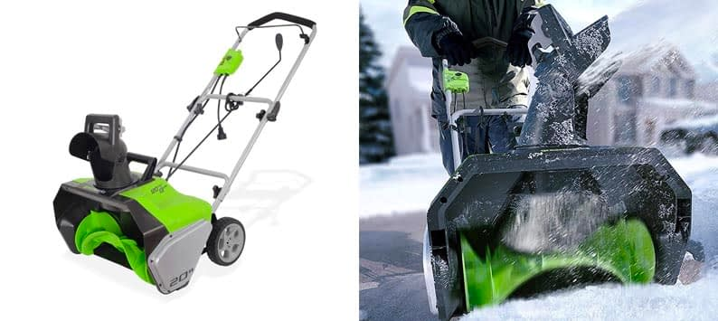 2. Greenworks 20-Inch 13 Amp Corded Snow Thrower