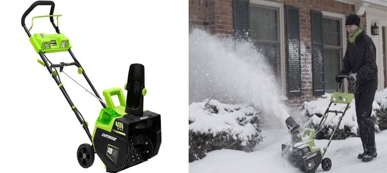 Earthwise SN74018 Cordless Electric 40-Volt 4Ah Brushless Motor, 18-Inch Snow Thrower