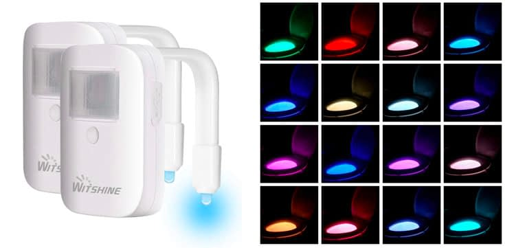 3. Witshine Rechargeable 16-Color Toilet Night Light