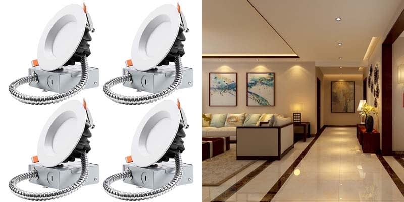 TORCHSTAR 12W 4-Inch Slim Recessed Ceiling Light With Junction Box