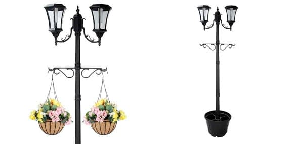 5. PSW - Solar Lamp Post With 2 Heads and Planty Hangers