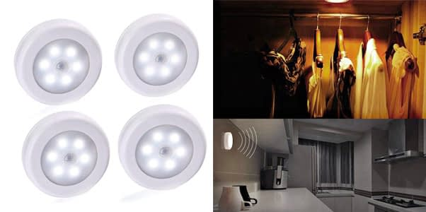 6.LUCKLED Battery Operated Puck Lights