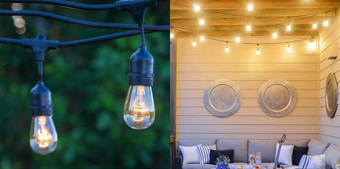 Brightech Ambiance Outdoor String Lights with Vintage Edison Bulbs