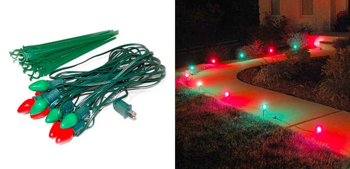 7. Lumabase 10 Count Red and Green Christmas Path Lights