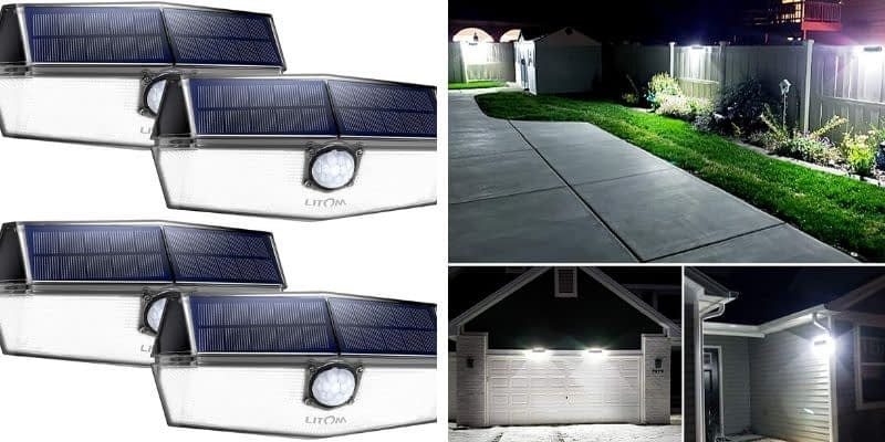 LITOM Upgraded Solar Power Motion Sensor Lights