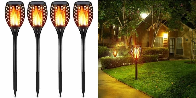 2. TomCare Solar Flickering Flame Torches