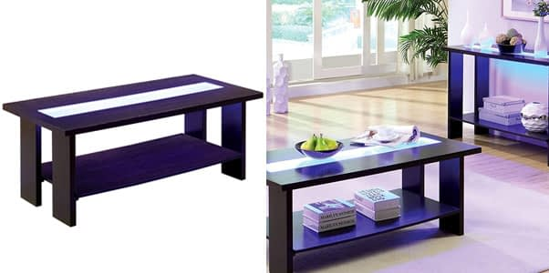 Furniture of America Crownguard LED Lighted Coffee Table