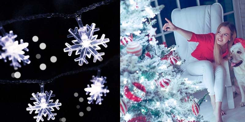 HuTools Snowflake Led Lights 16.5ft 50 LED Battery-Operated Fairy String Lights