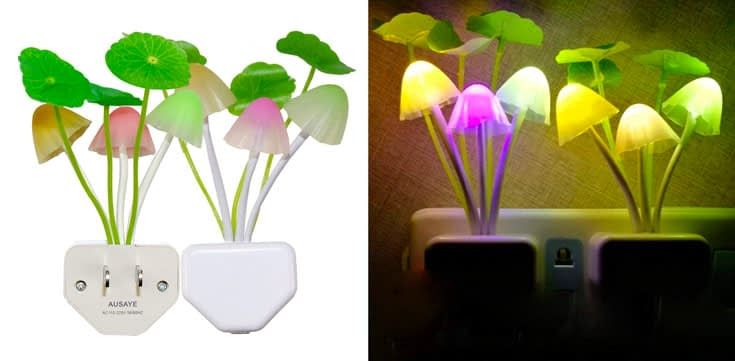9. AUSAYE 2-Pack Mushroom LED Night Light