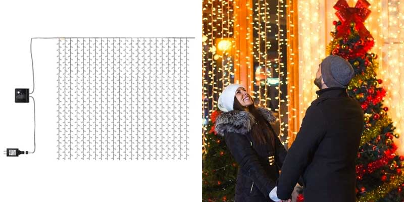 Kohree LED Curtain Lights, Hanging Wedding Light Remote Control Outdoor Indoor Icicle Flashing String Lights